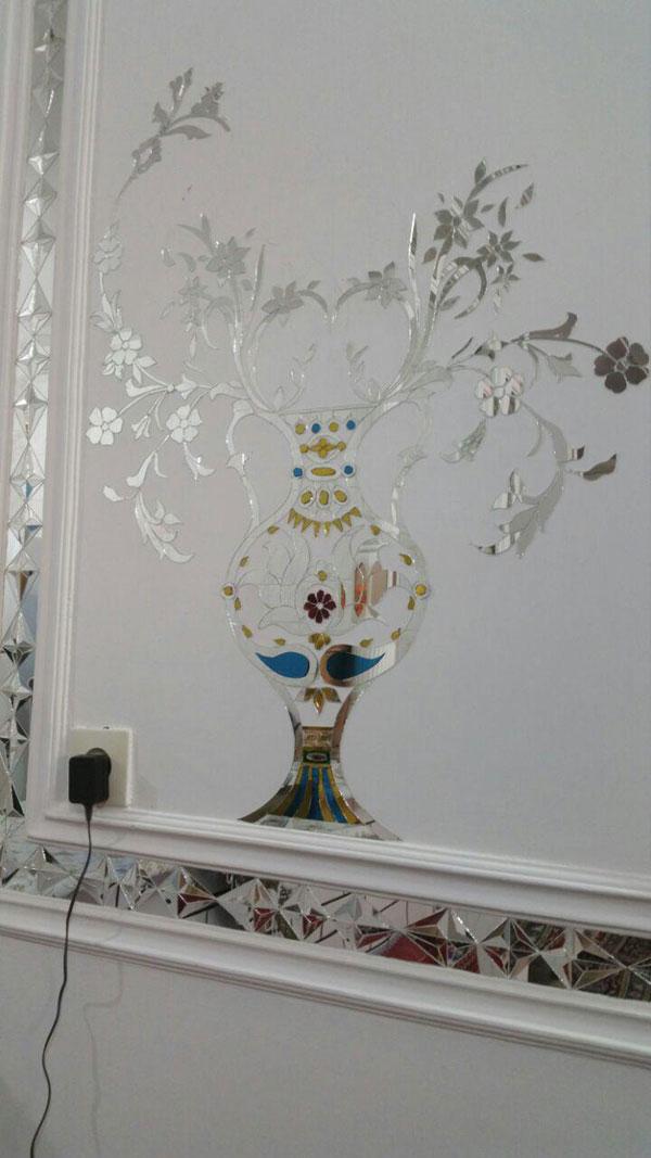 آینه کاری حاشیه گل و برگ