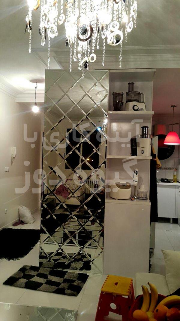 آینه کاری لوزی روی ستون