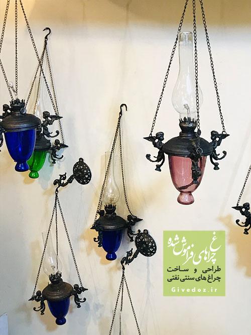 چراغ آویز سنتی زنجیری با شیشه رنگی