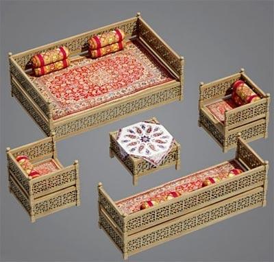 مدل سه بعدی تخت سنتی