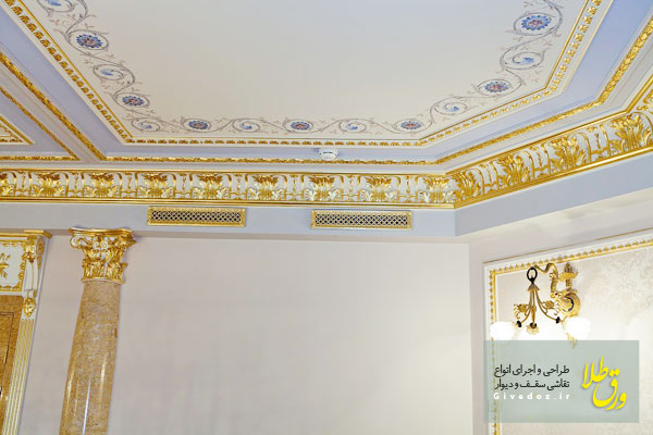 طریقه چسباندن ورق طلا روی دیوار