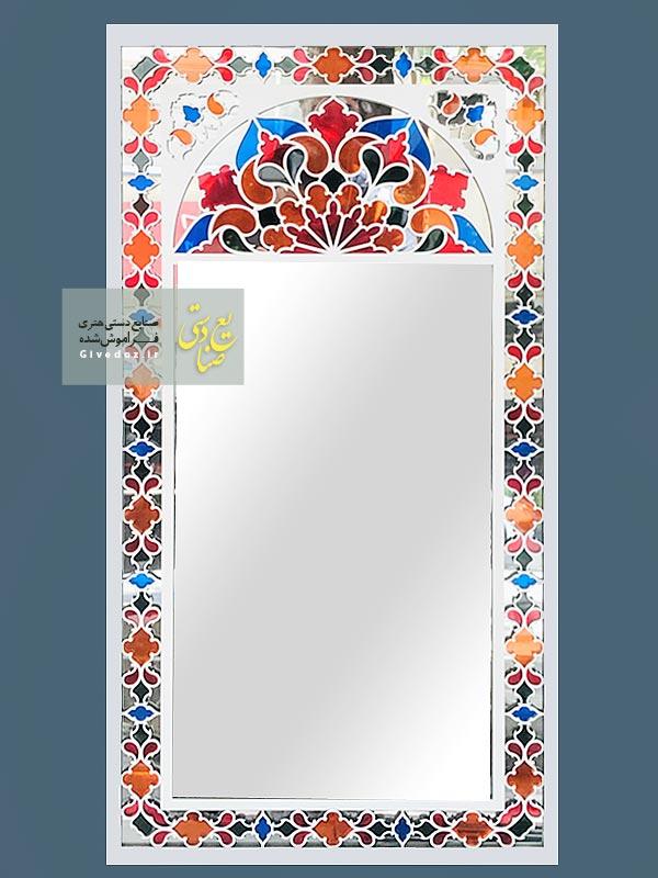 آینه سنتی با طرح شیشه رنگی