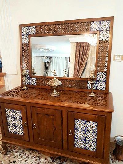 آینه و کنسول چوبی گره چینی