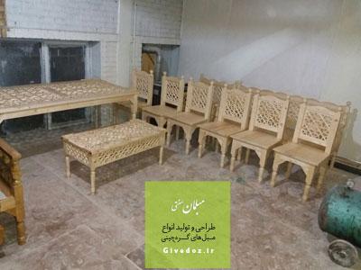 صندلی چوبی گره چینی 4 نفره