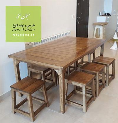 میز و نیمکت چوبی هشت نفره